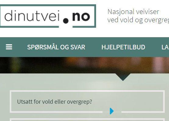 """<p>Nasjonal veiviser ved vold og overgrep. <a href=""""https://dinutvei.no/"""" target=""""_blank"""" rel=""""noopener"""">Les mer</a></p>"""